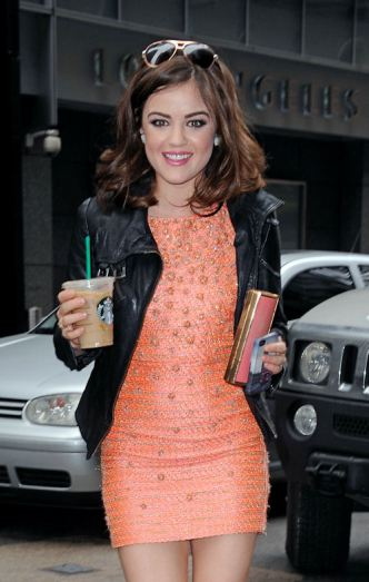 Lucy Hale seen sipping coffee in Midtown, New York City