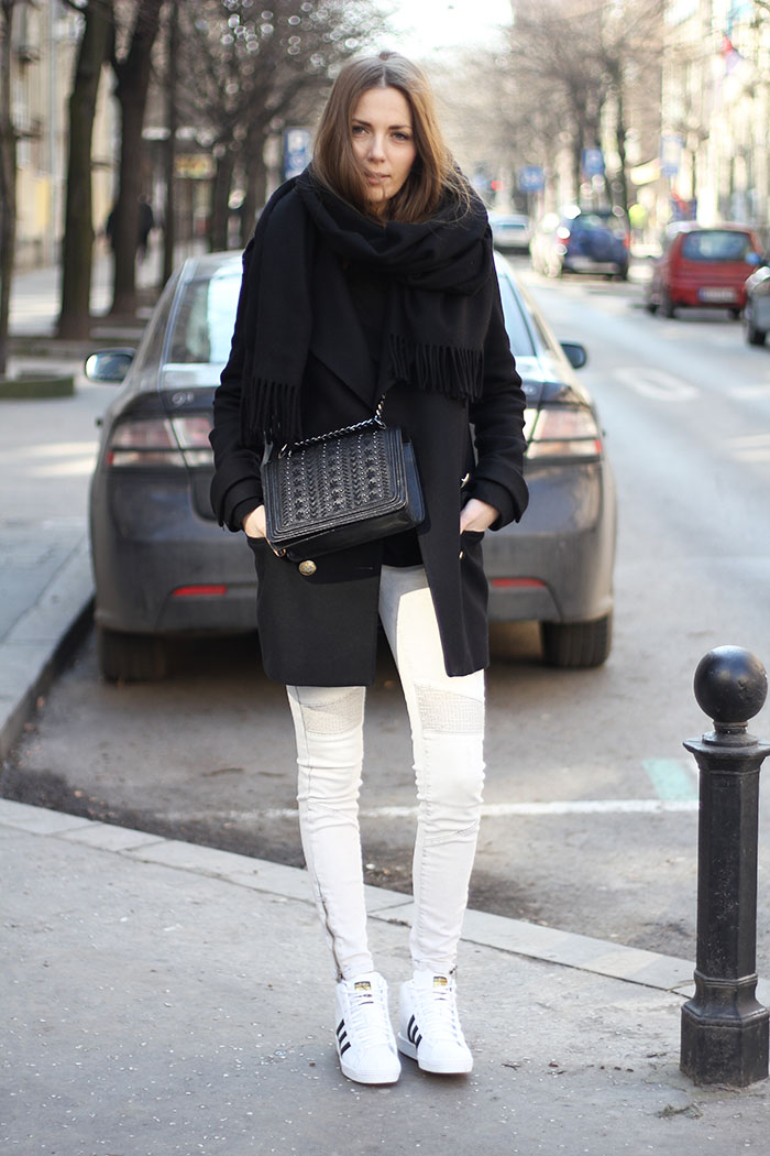 vanja, fashion and style blog, adidas superstar up sneakers, zara bag, acne studios scarf